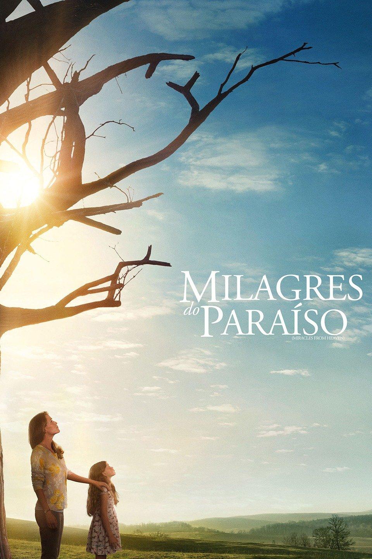 imagem capa do filme Milagres do Paraíso - mulher e uma menina debaixo de árvore seca olhando para o céu